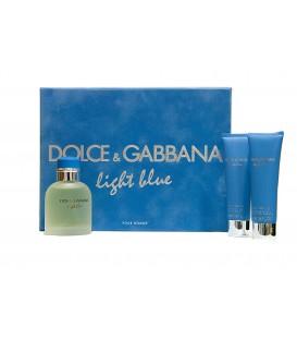 DOLCE & GABBANA (D&G) - LIGHT BLUE POUR HOMME EDT 75 VP + GEL 50 ML.+ AFTER SHAVE 50 ML.